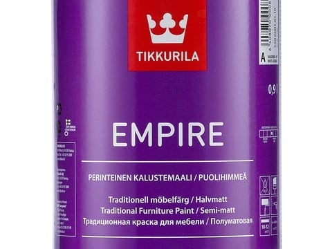 краска для мебели TIKKURILA EMPIRE 0,9л тиксотропная алкидная полуматовая база А белая